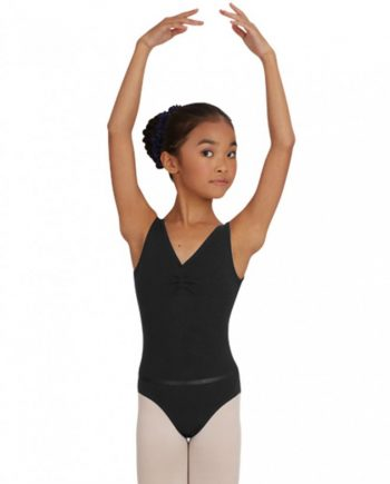 Capezio CAD201C pinch front leotard w/belt balletpakje met rimpeltje
