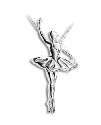 Ballet ketting ballet hanger dans ketting zilver witgoud