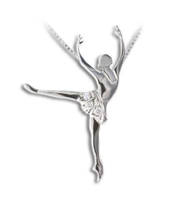 Arabesque ballet-ketting-ballet-hanger-dans-ketting-zilver-witgoud